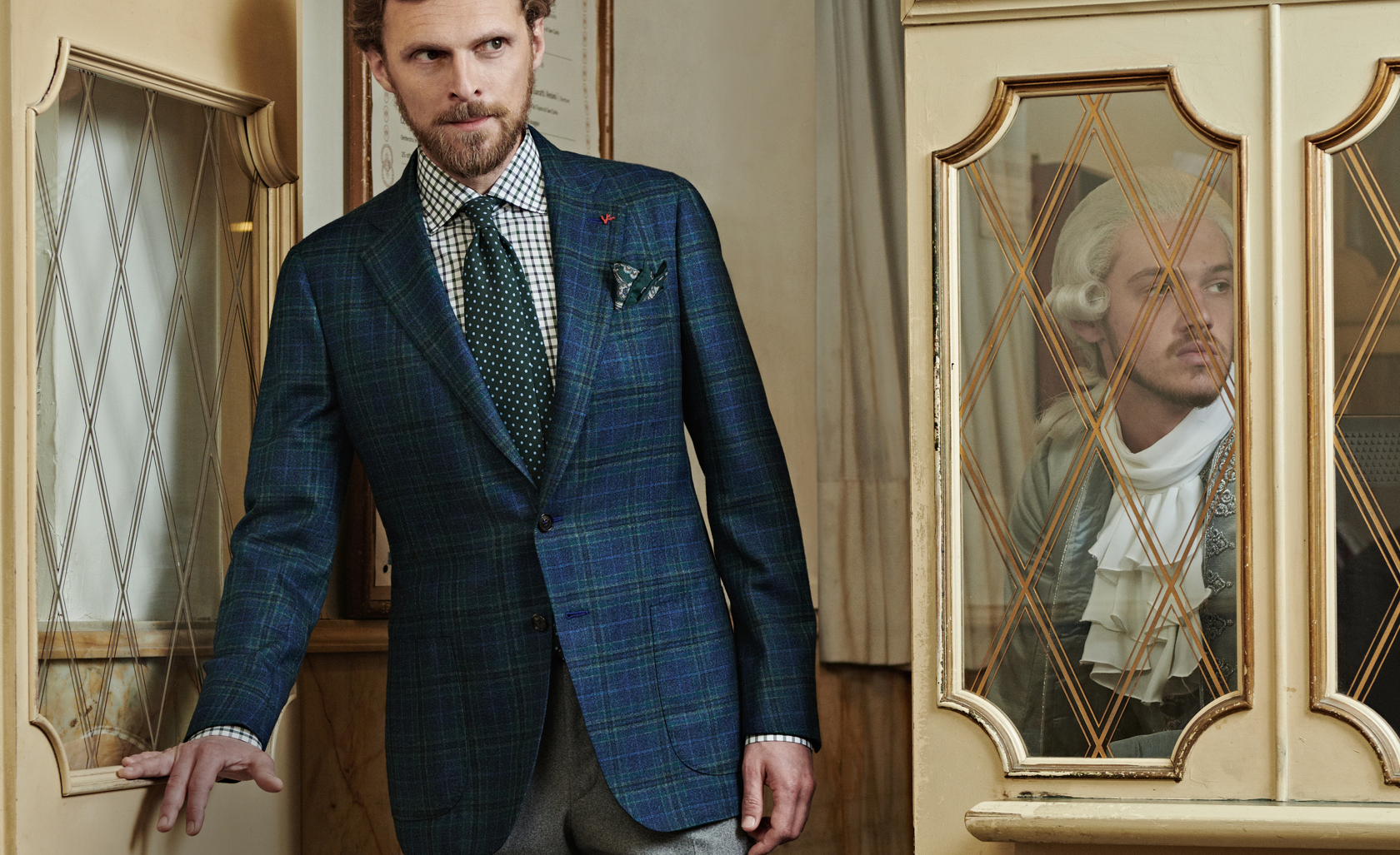 ISAIA Model Wearing a Blue Sport Jacket from the Fall Winter 2019 Collection
