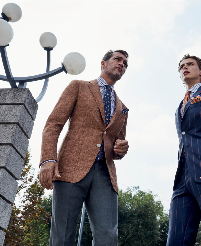 two models wearing ISAIA's spring summer 2019 ccollection