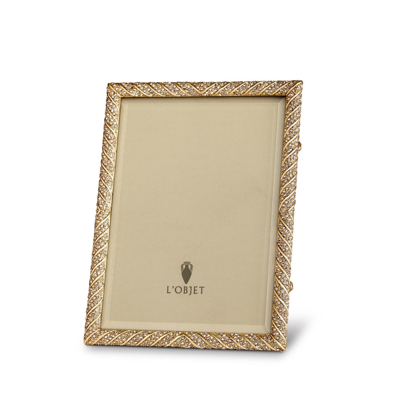 Deco twist frame 4x6 gold white crystals lobjet